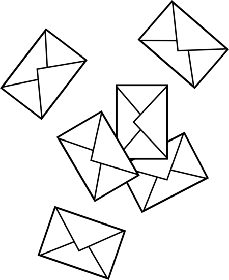 Scattered Mail Envelopes Free Clip Art