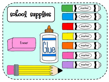 School Supplies Clip Art Mega Pack Kelly Einhardt Teachers
