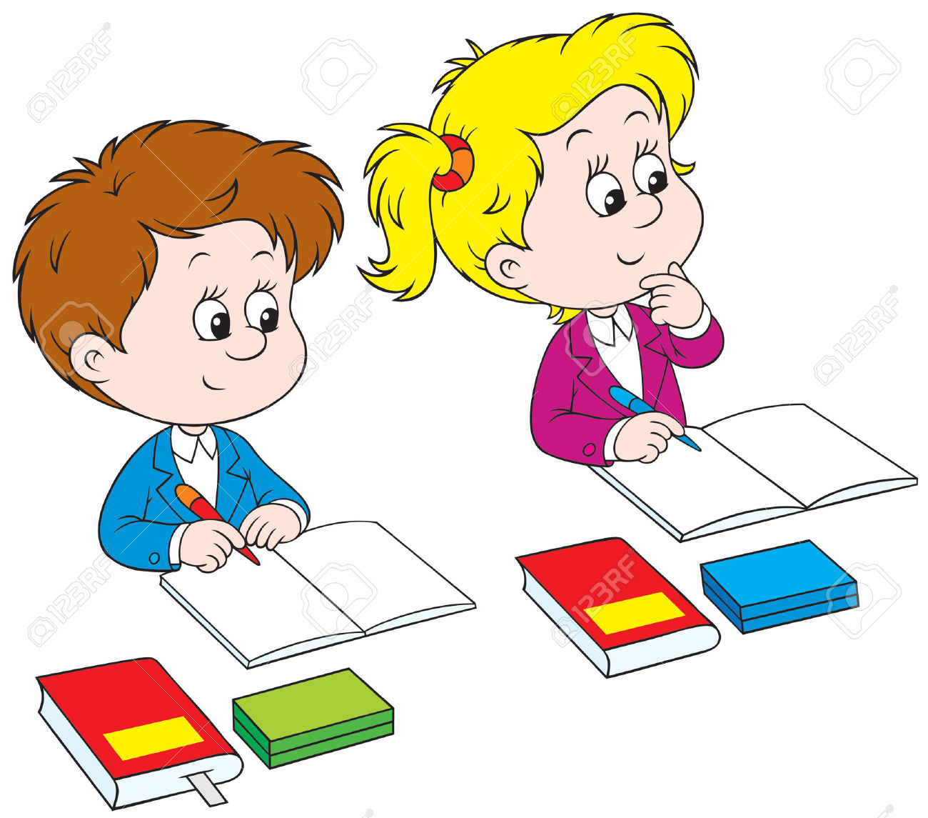 Kids Writing Clipart Schoolchildren Royalty Free Cliparts Vectors And ...: clipartion.com/free-clipart-20790