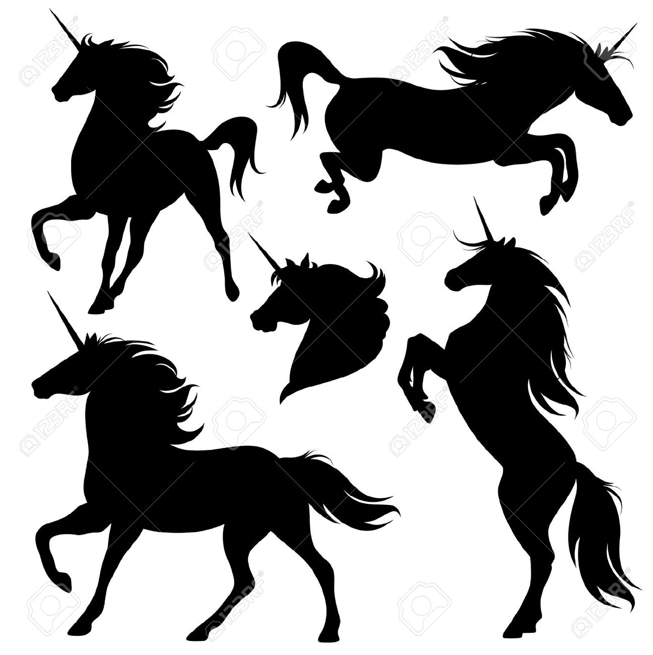 Set Of Fine Unicorn Silhouettes Running Rearing And Jumping