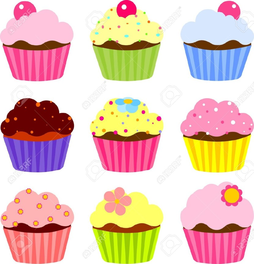 Set Of Various Cupcake Royalty Free Cliparts Vectors And Stock