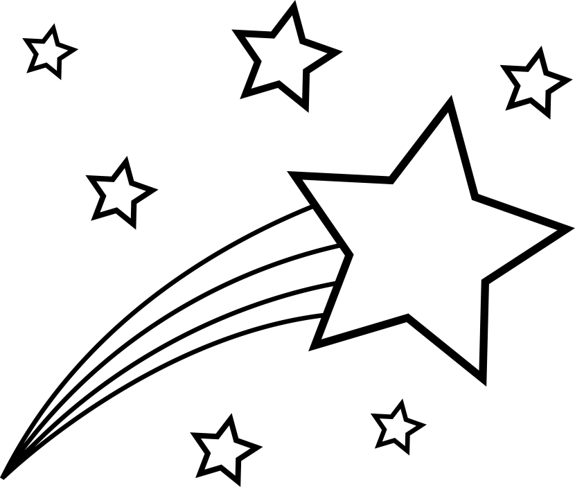 Shooting Star Clip Art Outline Free Clipart Images