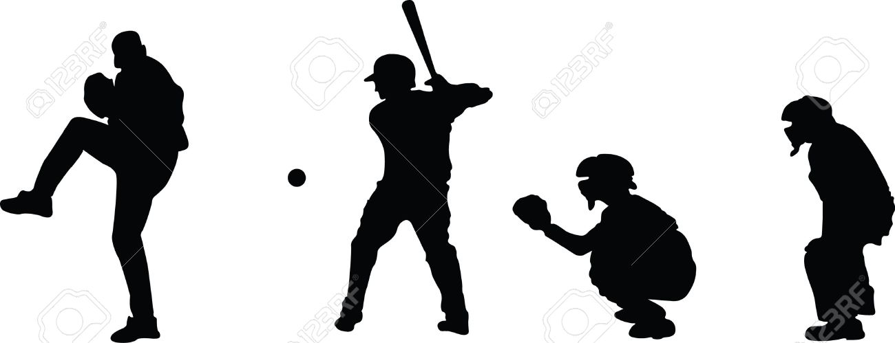 Silhouettes Of A Pitcher Hitter Catcher And Umpire Royalty Free