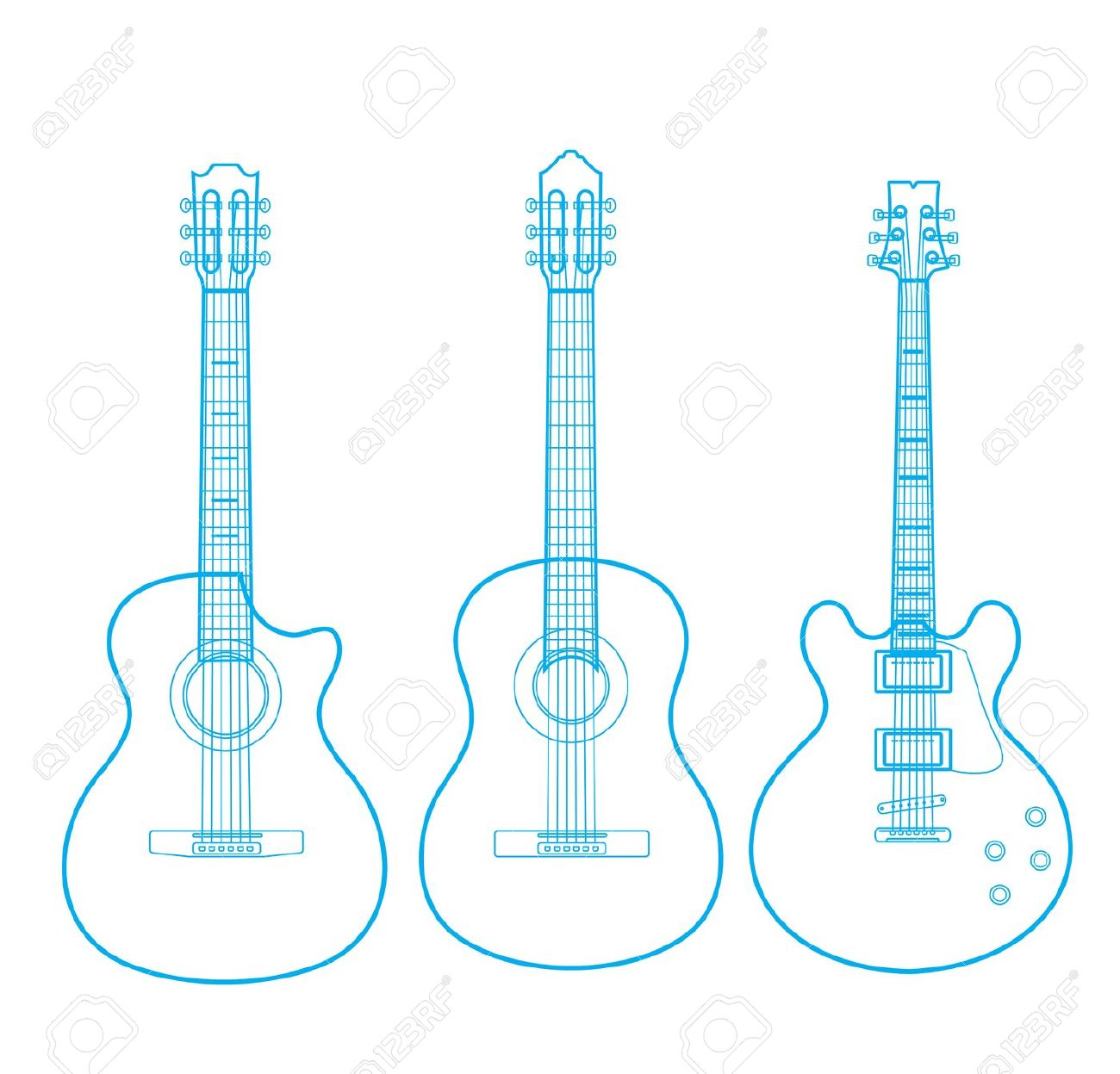 Silhouettes Of Classic Guitars Isolated On White Royalty Free