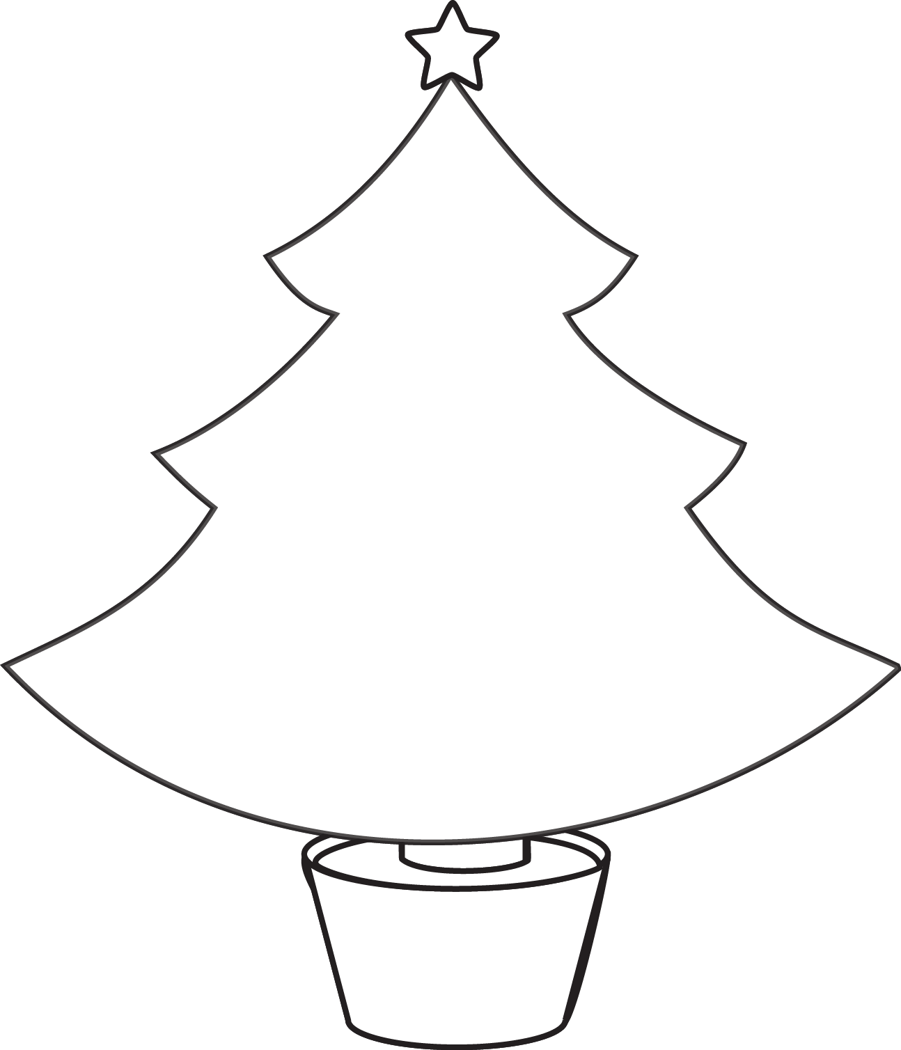 Simple Christmas Tree Outline Free Clipart Images