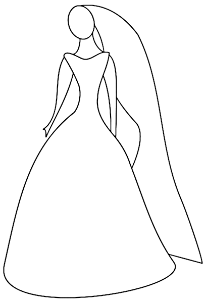 Simple Outline Of Women In Her Wedding Dress Png