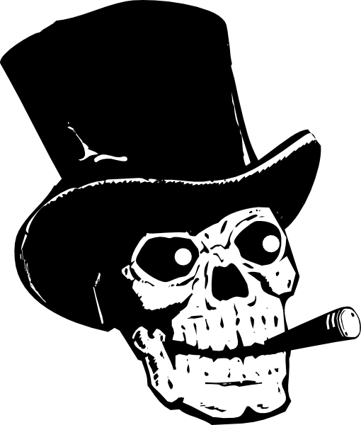 Skull With Top Hat And Ccigar Clip Art At Vector Clip