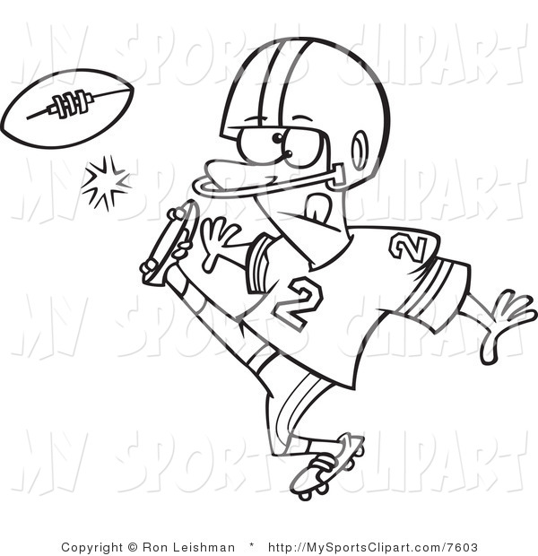 Sports Clip Art Of A Black And White Football Player Kicking