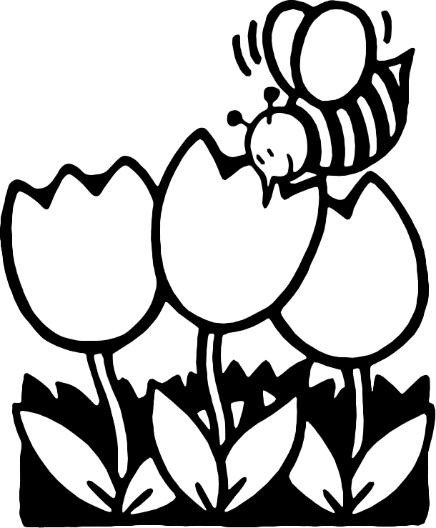Spring Flowers Clipart Black And White Free