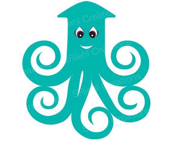 Squid Clipart Aquatic Baby Shower Cartoonsriehlcreations
