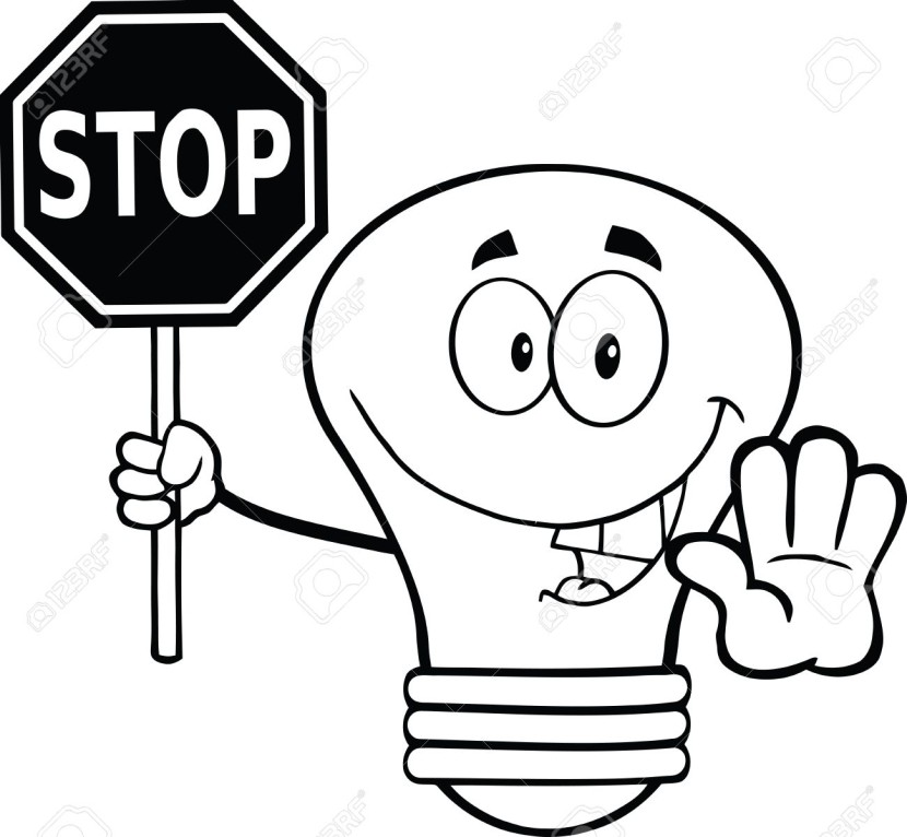 Stop Sign Black White Clipartion