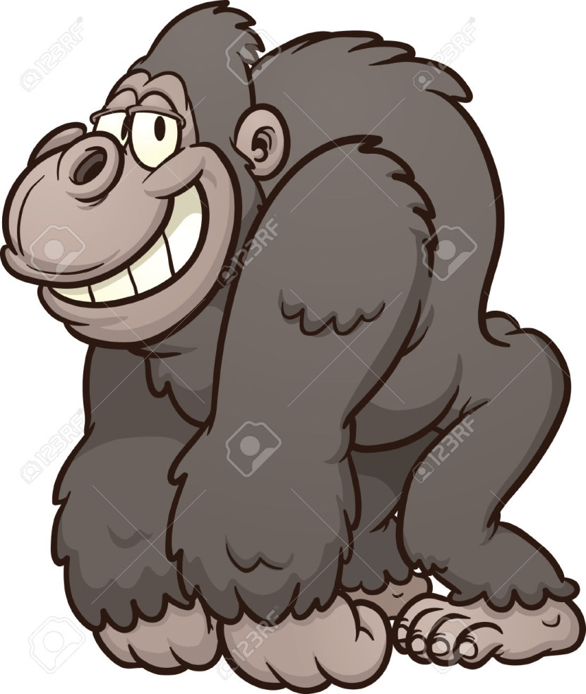 Strong Cartoon Gorilla Vector Clip Art Illustration With Simple