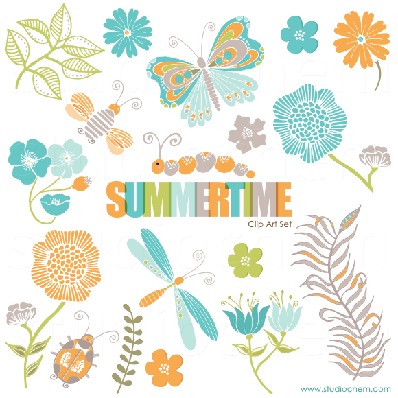 Summertime Clip Art And Pattern Set Studio Chem