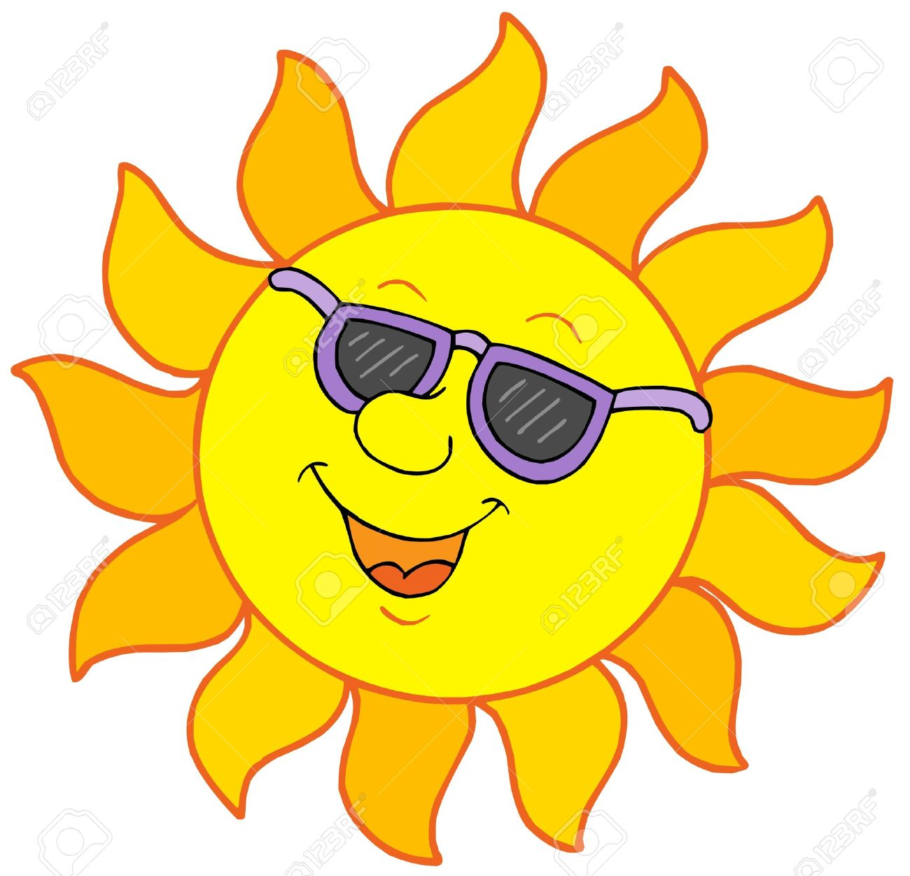 Sun With Sunglasses Vector Illustration Royalty Free Cliparts