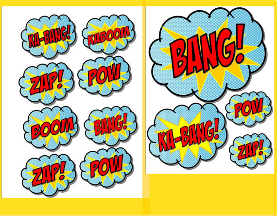 Super Hero Party Power Words Bursts Superherokrownkreations