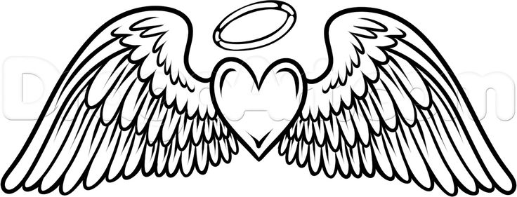 This Angel Wings With Heart Amp Halo Tattoo Flying Hearts