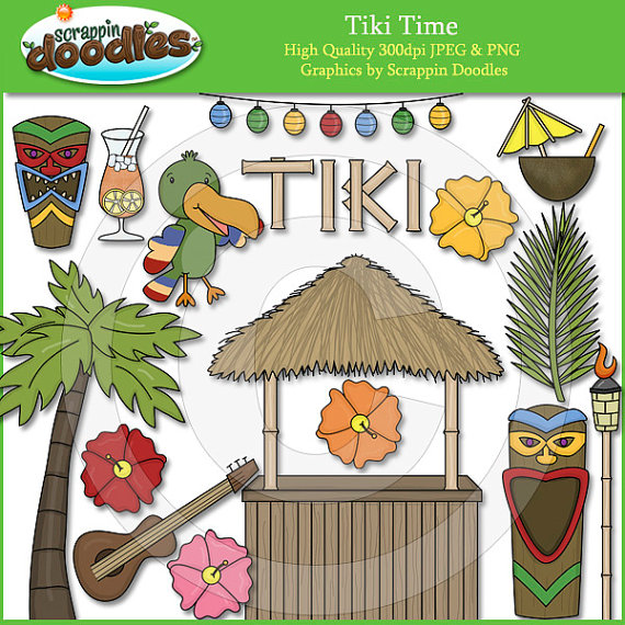 Tiki Time Clip Artscrappindoodles On Etsy