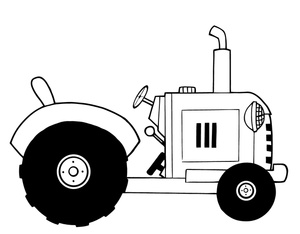Tractor Clip Art Black And White Coloring Pages Tractors