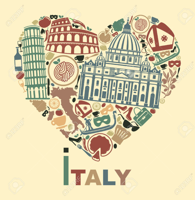 Traditional Symbols Of Italy In The Form Of Heart Royalty Free
