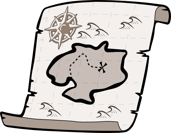 Treasure Map Clipart Black And White Free