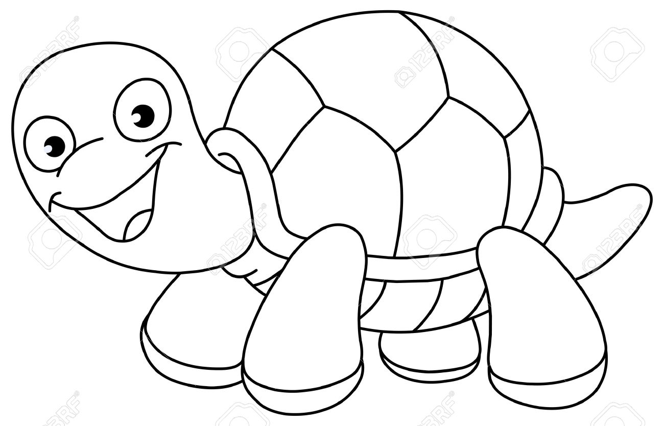 cartoon turtle black and white
