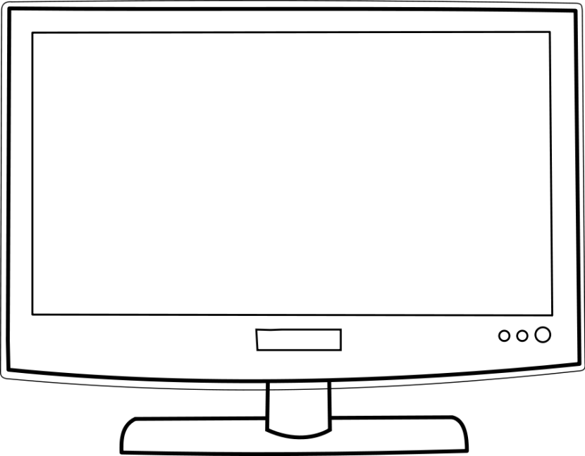 Tv Screen Clipart Black And White Free Clipart