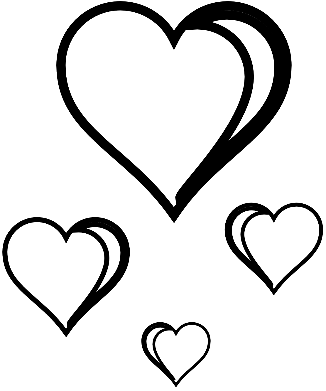 Two Hearts Clipart Black And White Free Clipart