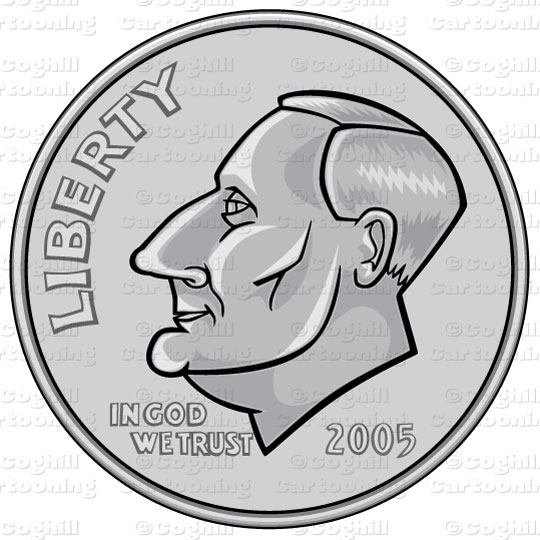 Us Dime Coin Stock Illustration Cartoon Clipart Coghill Cartooning