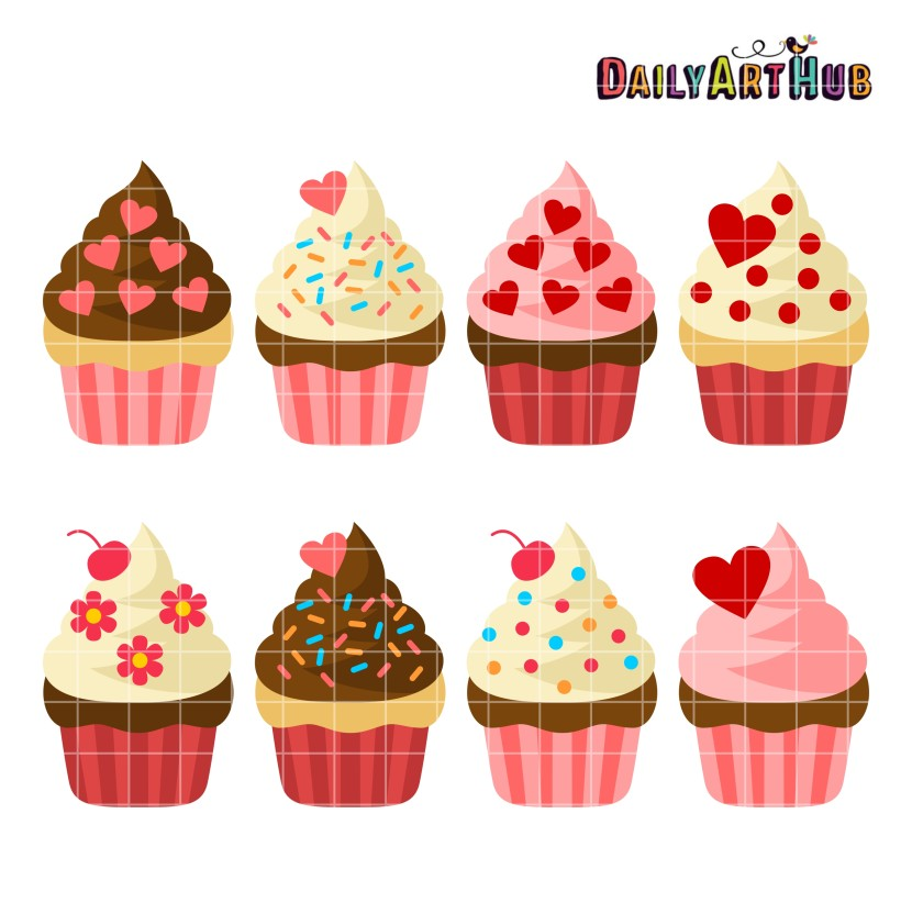 Valentine Cupcakes Set Click Here To Cancel Reply Clipart Free
