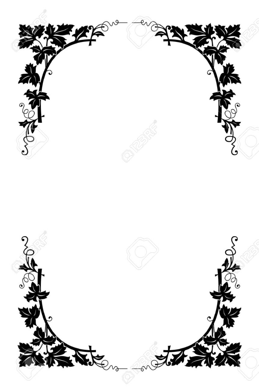 Vector Floral Border Black And White Easy To Recolored Royalty