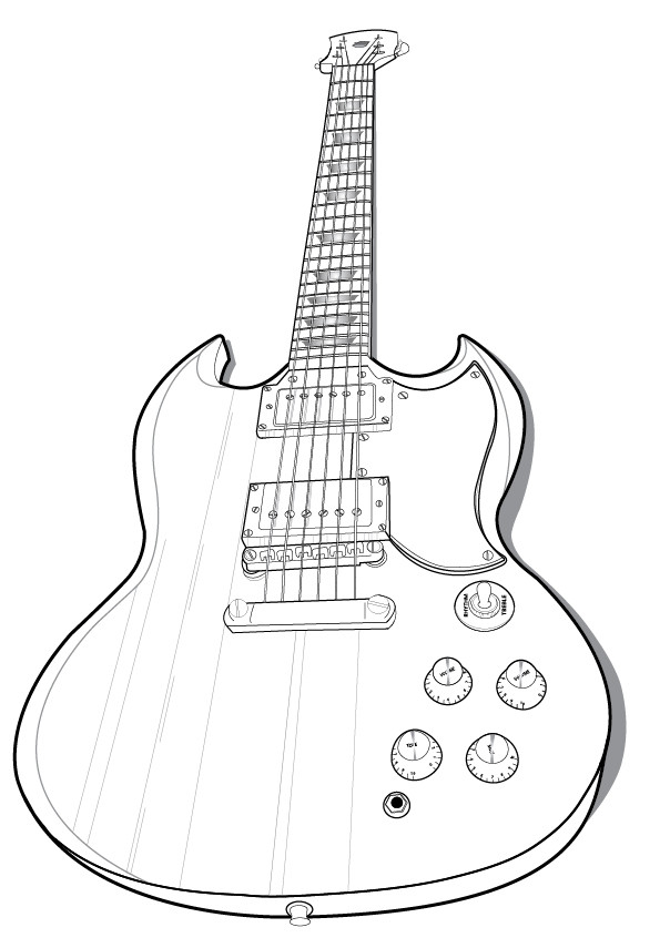 Vector Guitar Outlinecloudninesdesigns On Deviantart