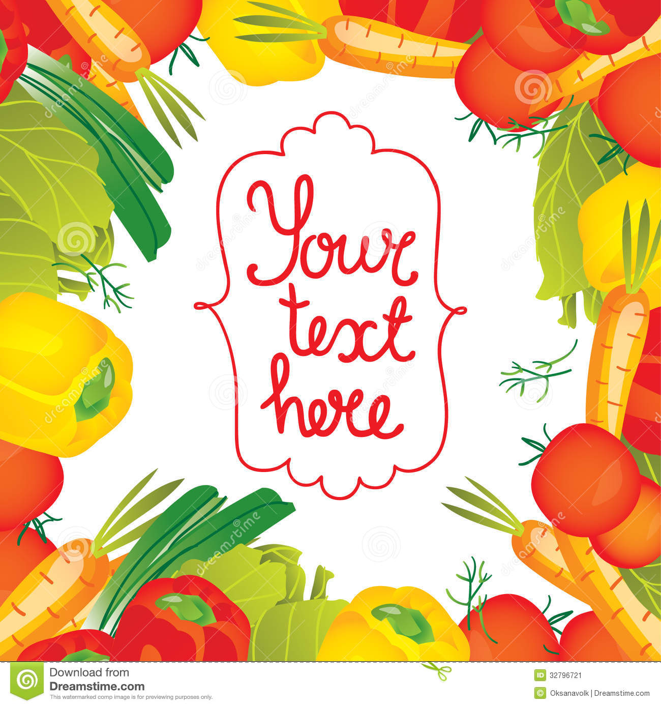 Vector Illustration Vegetables Border Frame Stock Image Image