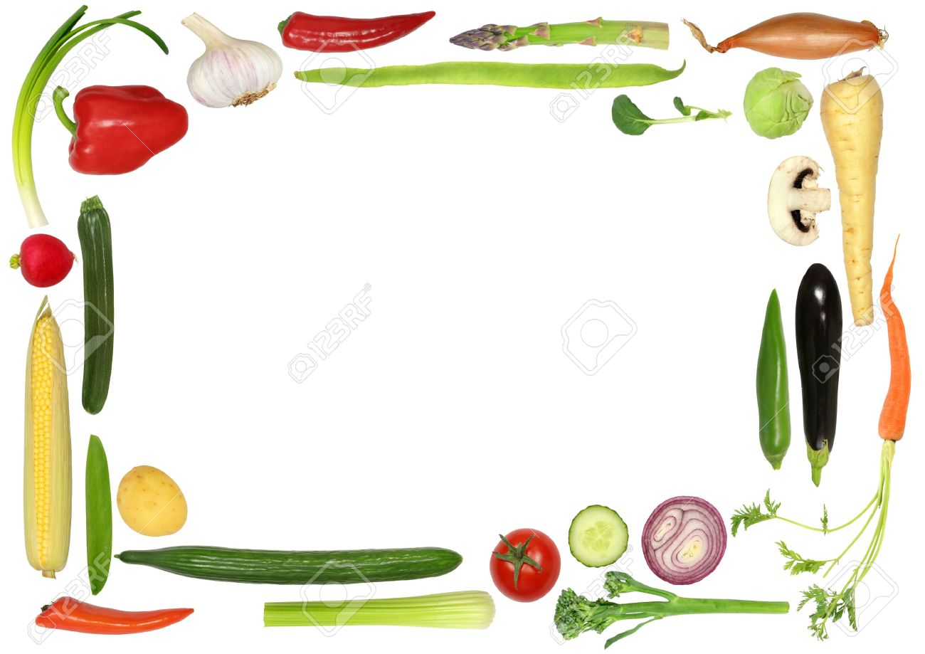Vegetable Selection Forming An Abstract Border Over White