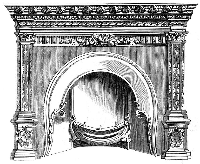 Vintage Clip Art Fireplace Mantels Christmas The Graphics Fairy