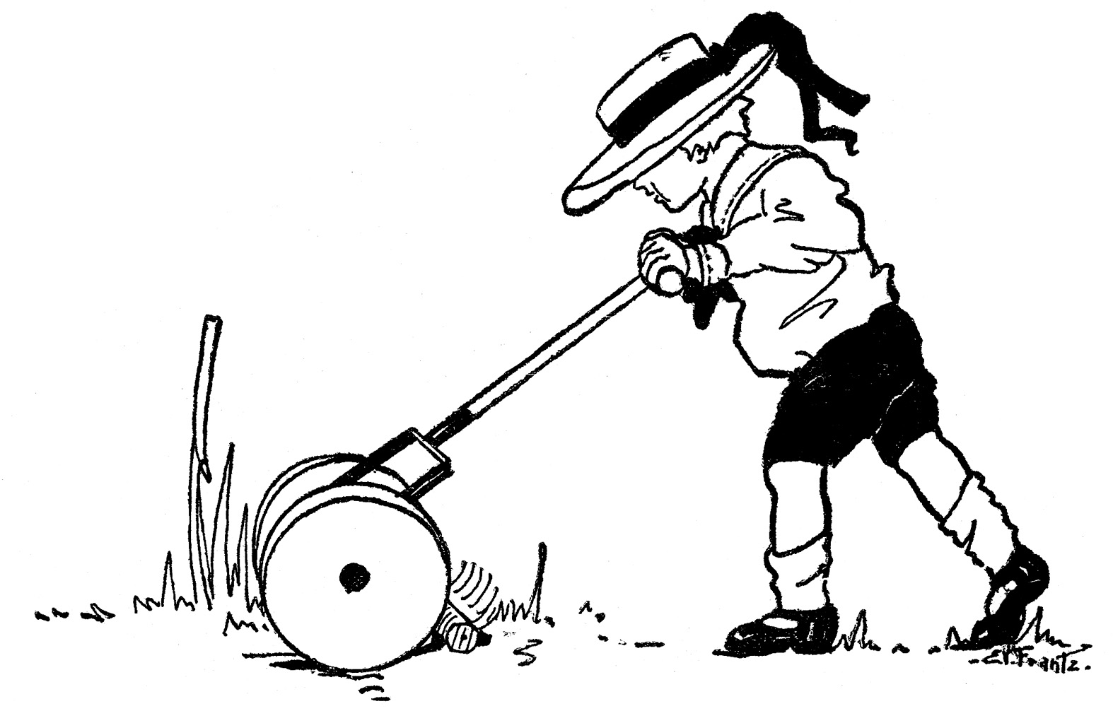 Vintage Summer Clip Art Boy With Lawn Mower The Graphics Fairy