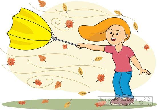 Weather Girl Holding An Umbrella In Wind Weather Fal Classroom