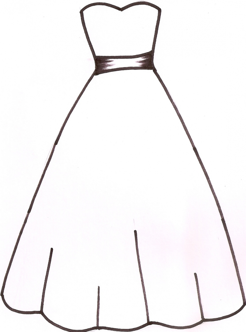 Wedding Dress Clipart Outline Free Clipart Images