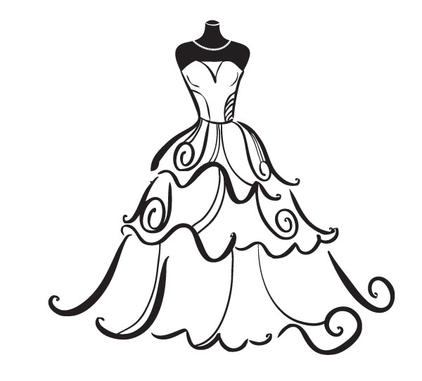Wedding Dress Outline Clipart Free Clip Art Images