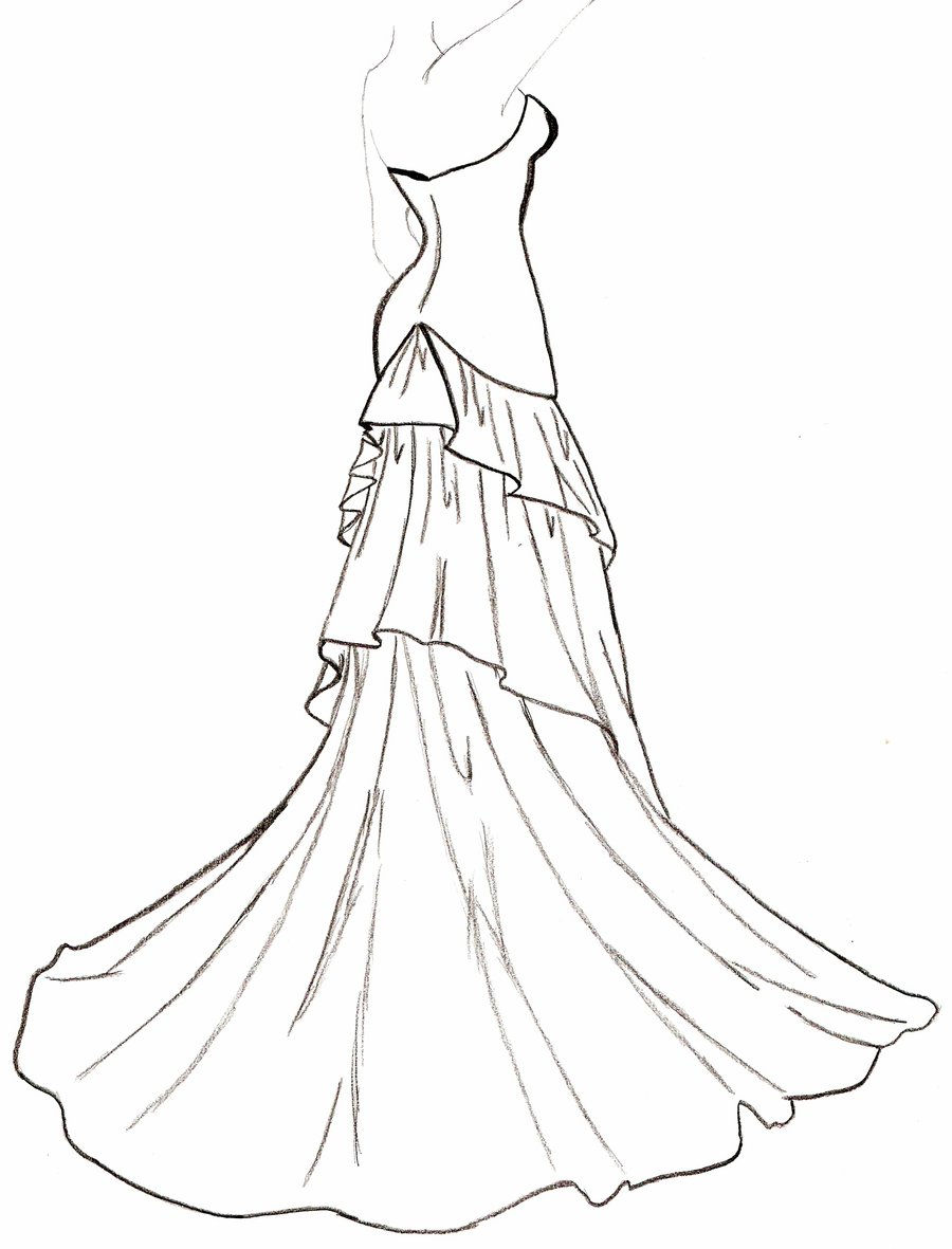 Wedding Dress Line Drawing : Wedding dress outline