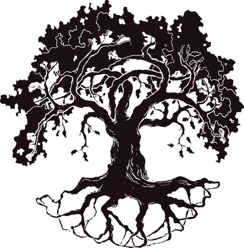 Tree Line Art Design : Oak tree silhouette clipartion