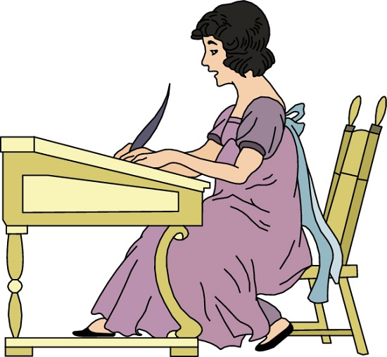 girl writing clipart   clipartion