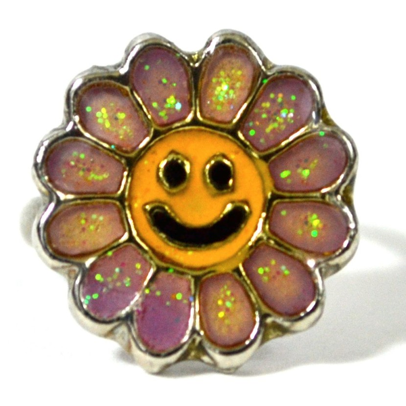 0s Smiley Face Flower Power Adjustable Ring From