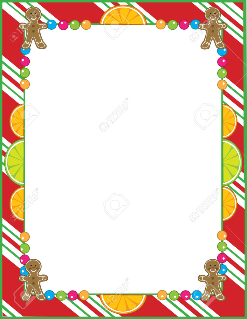 A Border Or Frame Featurng Christmas Candies Like Peppermint Fruit