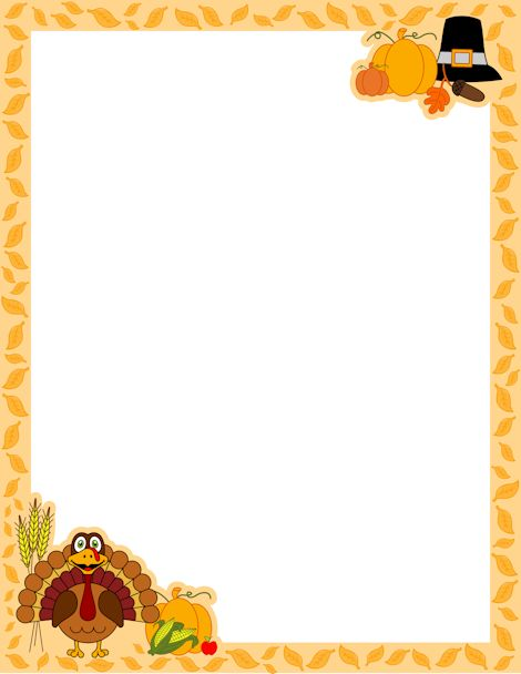 A Page Border For Thanksgiving With A Turkey Cartoon Pilgrim Hat