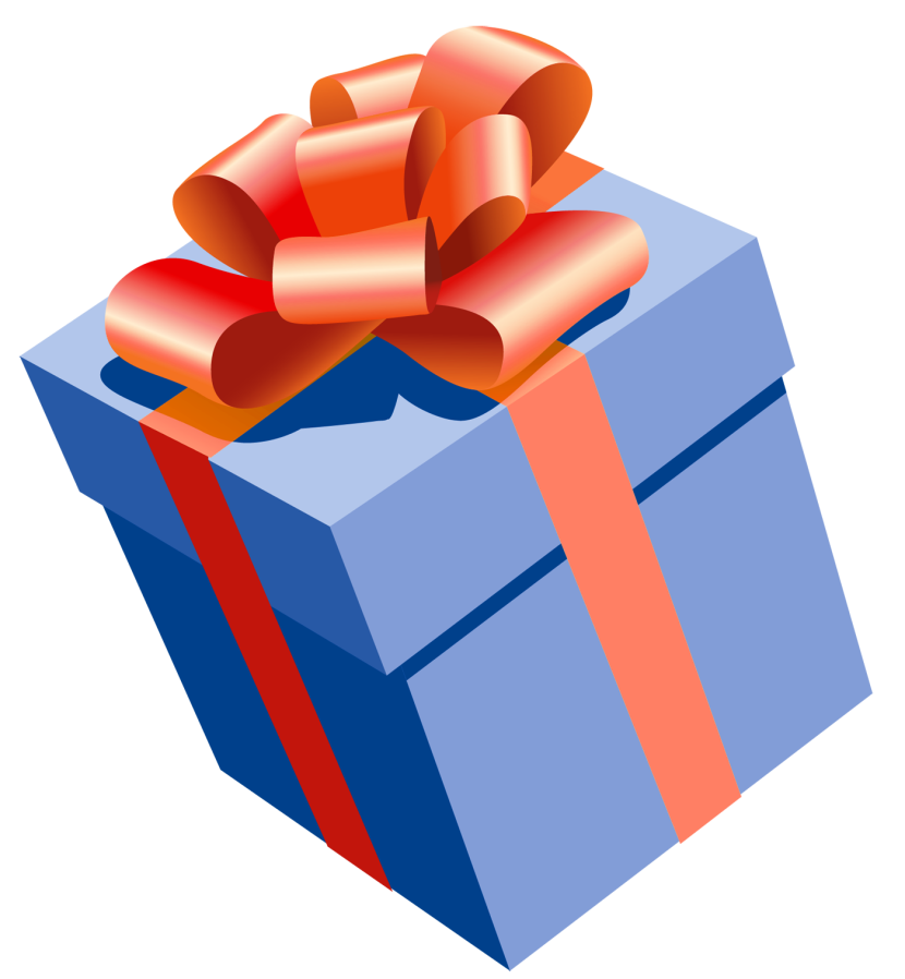 Blue Png Present With Red Bow Clipart Png M 0
