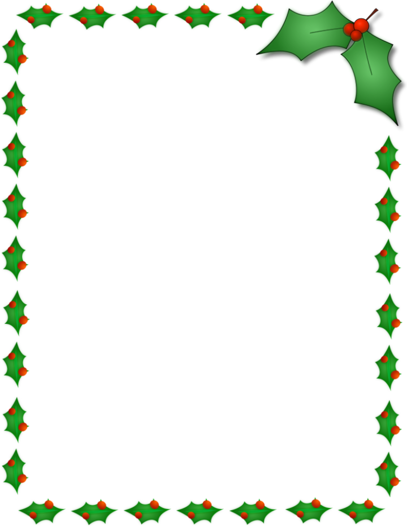Christmas Holly Border Page Page Frames