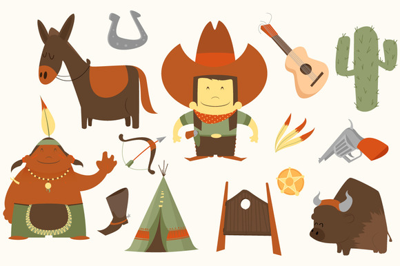 Cowboy Western Clip Art Pack Illustrations On Creative Market