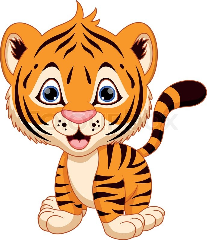 Cute Baby Tiger Cartoon Vector Colourbox