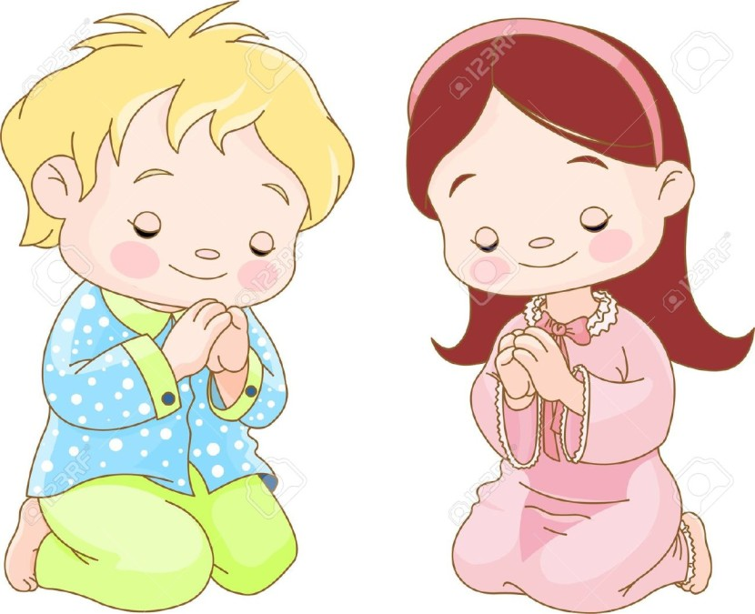 Cute Children Kneeling And Praying Free Cliparts Vectors