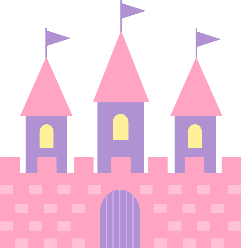 Cute Pink Princess Castle Free Clip Art